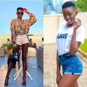 Ladies, Bum-Shorts 'Huvaliwa Hivi'. Checkout Pictures of Rue Baby Rocking Bum-Shorts in Style