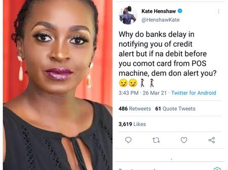 How fans reacted to kate Henshaw's comment on banks alerts