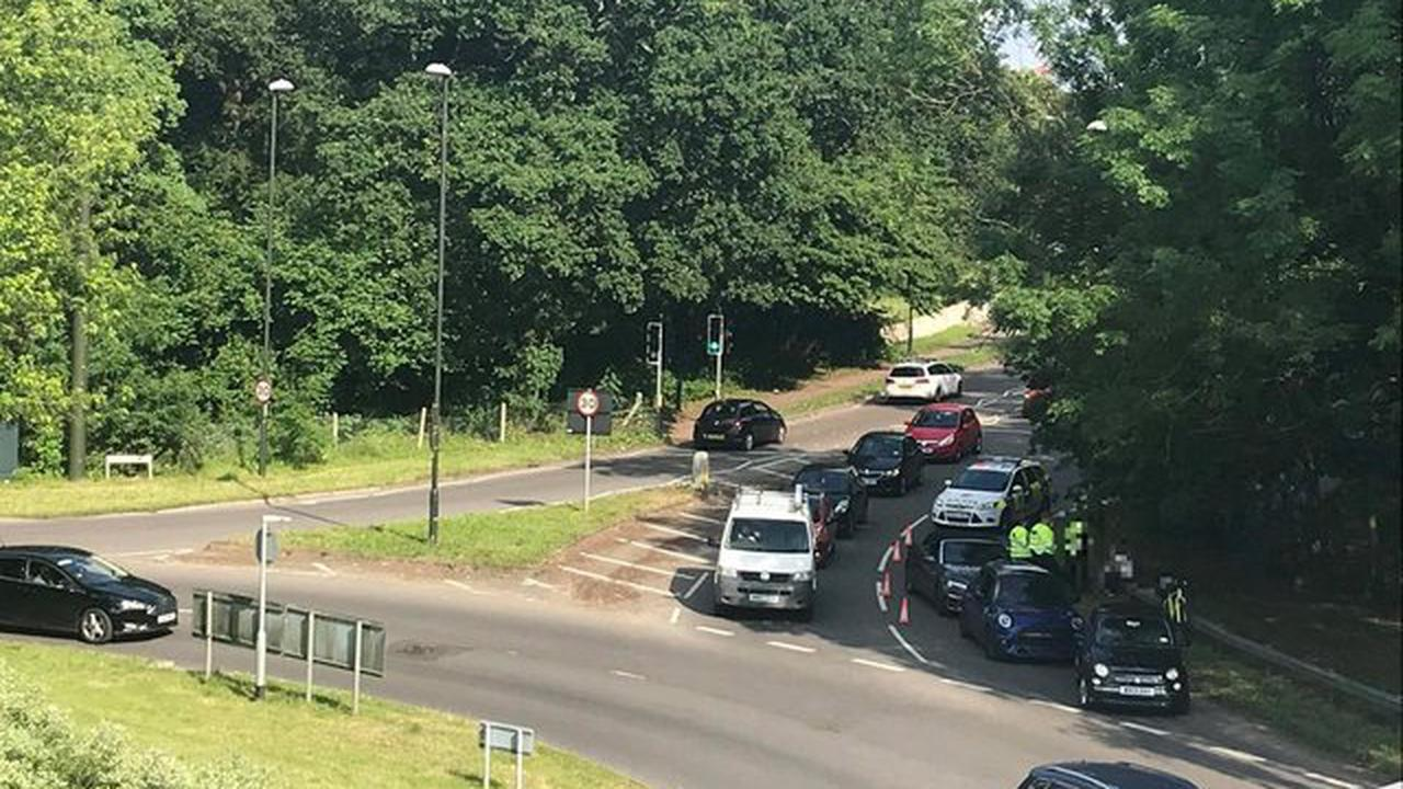 Heavy traffic after collision on busy Crawley roundabout