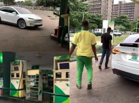 Check What Happened After A Nigerian Man Took Tesla Model X To A Filling Station