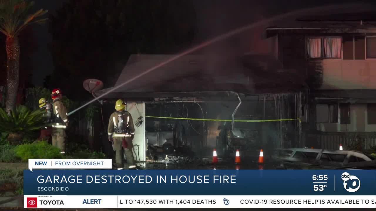 Fire damages garage at Escondido home
