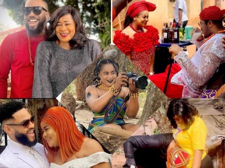 Check Out These Stunning Photos Of Actress Uju Okoli With Freddie Leonard, Flash Boy, Mike On Sets
