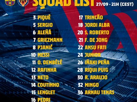 Barcelona Release Squad to Face Villareal in their La Liga Opening Game