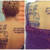 People Blasted A Lady Who Tattooed Bola Tinubu's Face On Her Back (Photos)