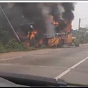 Un car de la compagnie CTE part en fumée sur l'axe Yamoussoukro - Tiebissou