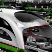 Technology!  Chinese Transit Elevated Bus That Would Allow Other Vehicles Pass Under It(PHOTOS)