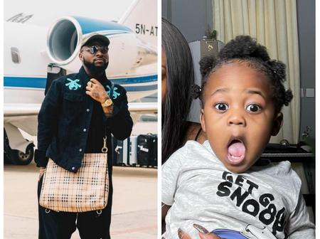 Check out what Davido did with his son, Ifeanyi's photo in his private jet