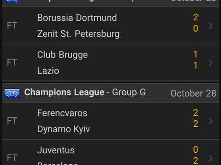 All UEFA Champions League Results For Yesterday Games.