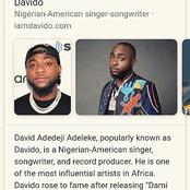 Check out brief descriptions of the Wikipedia pages of Davido, Wizkid and Burnaboy.
