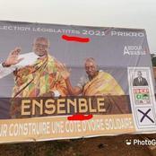 Campagne pour les législatives deux grosses fautes observées une pencarte  d'un candidat du RHDP