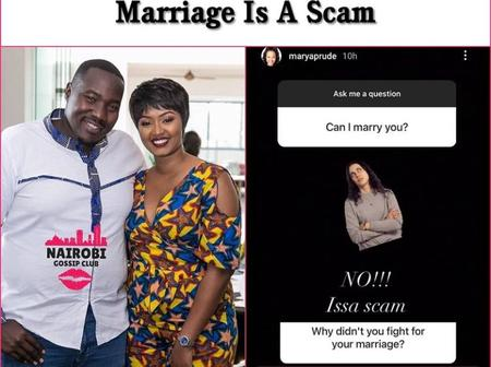 Willis Raburu's Ex-wife Marya Prude's Response to a Netizen's Question About Marriage