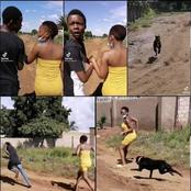 Boyfriend Abandons His Girlfriend While They Where Chased By A Black Dog