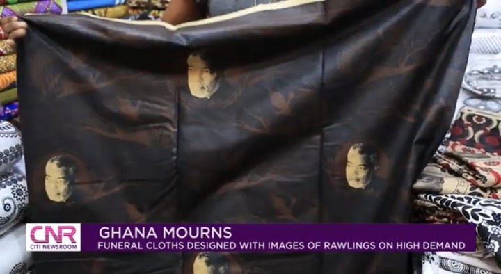 """1d29bd7f63c546a09c183a93fc76b159?quality=uhq&resize=720 - """"Ghana Mourns"""": Funeral Cloths With JJ Rawlings Image In High Demand In Ghana"""