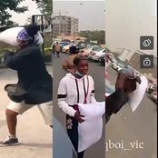 Creativity At Its Peak:Nigerians Hail The First Man To Introduce PILLOW FIGHT On The Street (VIDEO)