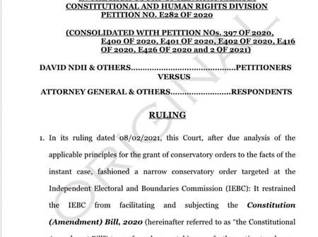 Big Blow To Uhuru As Highcourt Issues Order Barring Him From Signing BBI Into Law Incase It Passes