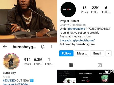 Burna Boy has 6.3million followers but follows only one person on his Instagram account