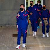 Barca players arrive in Seville for tonight's match (See photos)