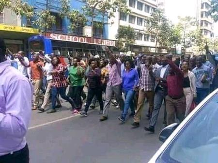 Business Unusual In Nairobi CBD As Residents Demonstrate Requesting President To Unlock The Country