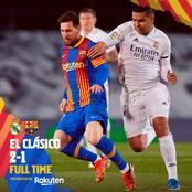 PLAYER RATINGS: See How Messi, Dembele & Others Performed In Barca's 2-1 Loss To Real Madrid