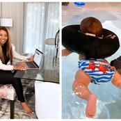 Pearl Modiadie shares first snaps on her son's first water flotation session.