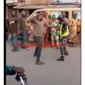 What did she do? More photos as retired soldier beats Up policewoman with cane in Lagos.