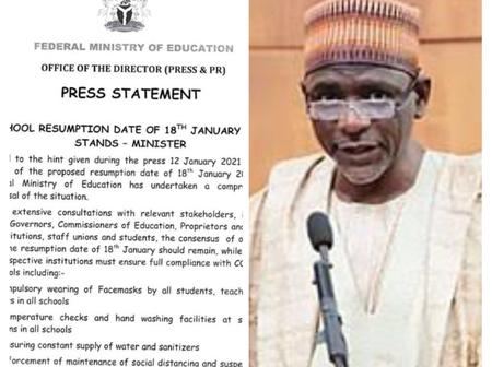 Fed. Ministry of Education finally review January 18th resumption date, check out what was unveiled