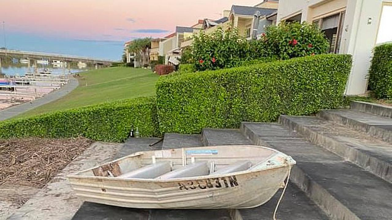 Tinny nicknamed the 'love boat' after it was used in its owner's marriage proposal is washed away in New South Wales floods….only for it to berth at a relative's property 70kms away