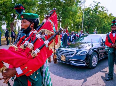 See the heavy weapon Buhari's bodyguard carried to today's Armed Forces Remembrance day celebration