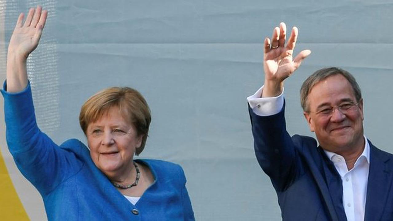 Merkel wirbt in Aachen für Laschet als Garant für Stabilität
