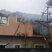 Photos As Fire Razes Two Apartments In Awka, Anambra State