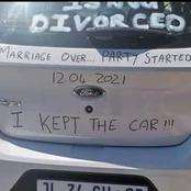 Man Celebrates His Divorce In Bizarre Manner, See Pictures Of What He Wrote On His Car