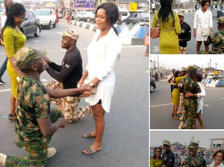 Two Soldiers Propose To Their Girlfriends On The Roadside