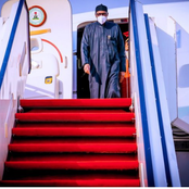 Moments President Buhari Arrives At The Abuja International Airport Today, See How He Was Received