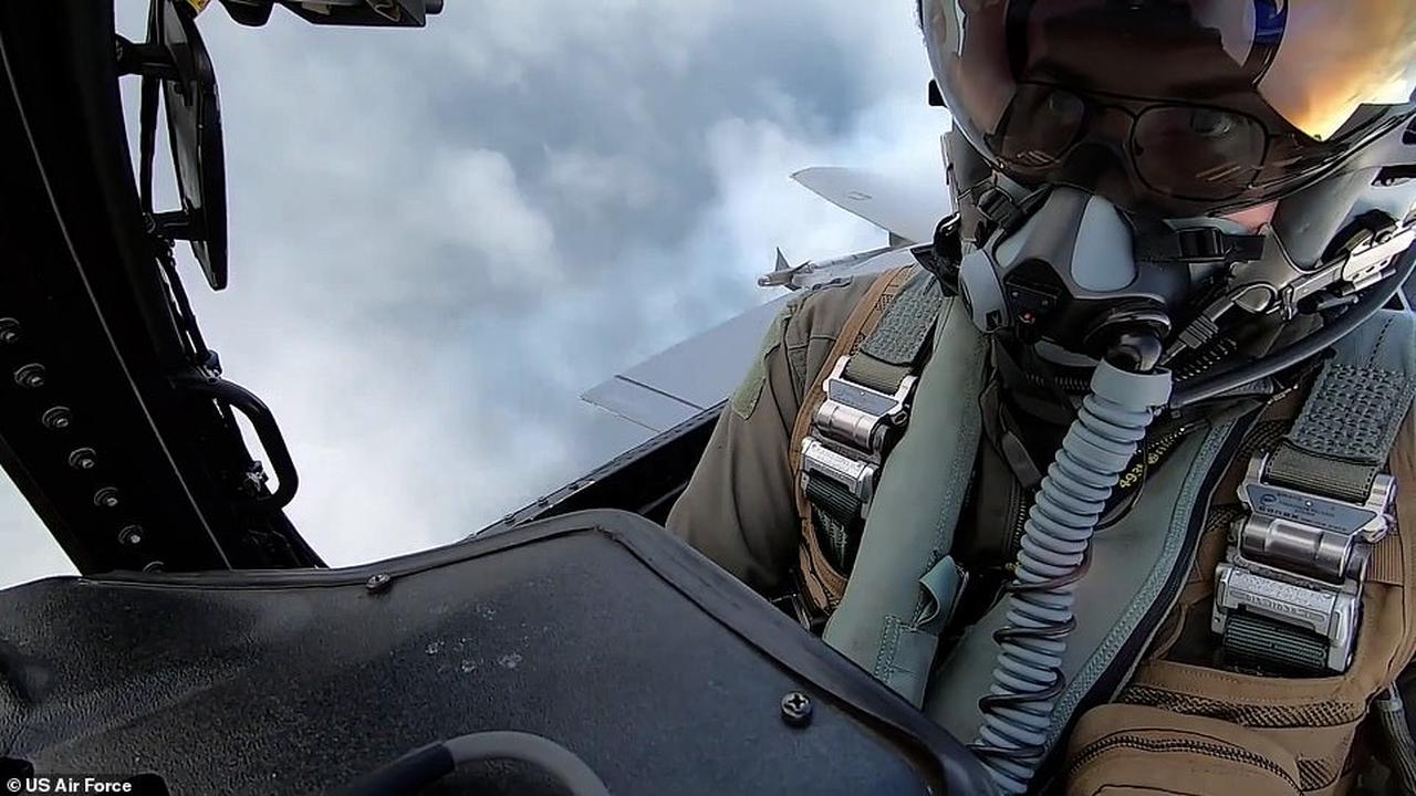 Incredible moment F15 fires missile and blows opponent out of the sky