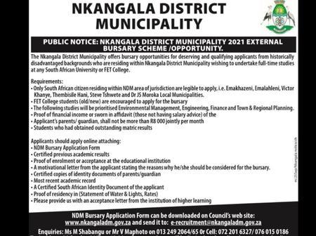 Nkangala District municipality 2021 External Bursary Scheme /Opportunity