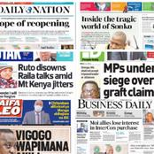 Tuesday 13th April 2021:Newspapers Headline Review About Ruto, Raila, MPs, Sonko And Schools