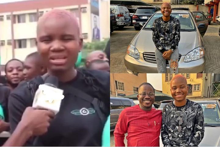 Female bike rider Sandra who spoke against Sanwo-Olu's Okada ban gets car gift