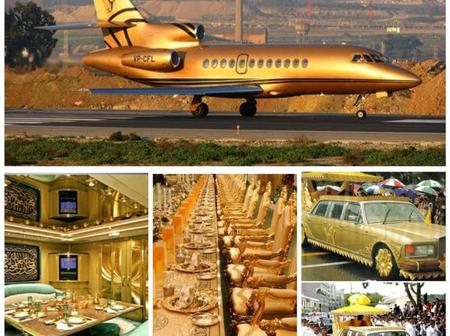 The man who lives in a golden palace, has 7000 cars and the only golden private jet in the world