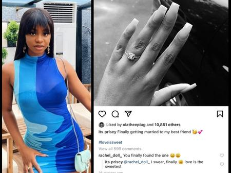 Mercy Aigbe's Daughter Reacts After Priscilla Ojo Shows Off Engagement Ring On Her Instagram Page
