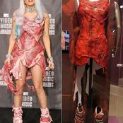 Meet Lady Gaga, The First Female To Put On Raw Meat Dress And The Meaning Of The Dress.