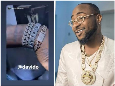 Checkout Pictures Of Davido's New Diamond Jewelries Which He Bought Recently