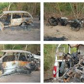 Pictures: Ogun State hunters ambush by suspected kidnappers, burn two vehicles and nine motorcycles