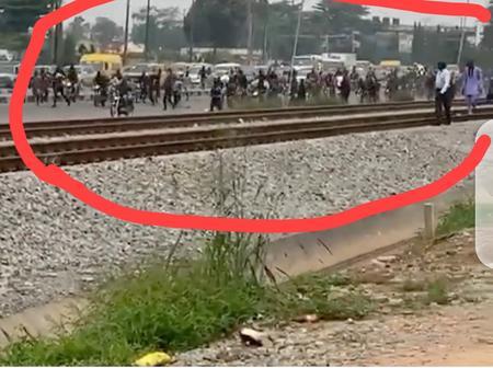 Panic In Ikeja As Okada Riders Clash With Lagos Task Force (VIDEO)