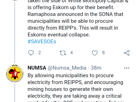 Numsa says the governing party has taken the side of White Monopoly Capital