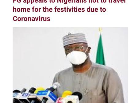 See Nigerians' reactions as Federal Government begs Nigerian not to travel home due to Coronavirus.