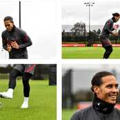 Photos: Virgil Van Dijk out on the pitch for the first time since he was injured in October.