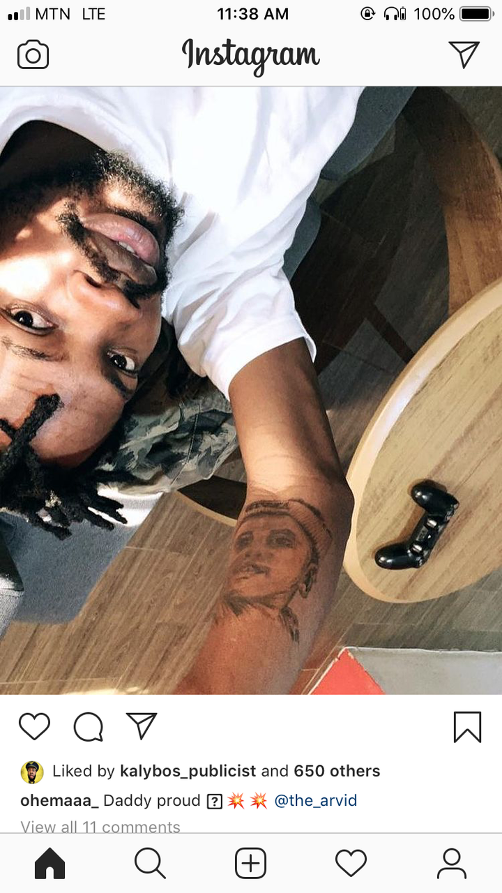 239071642067c03935fd4906a6a1b6e7?quality=uhq&resize=720 - Proud Father, Fameye Tattoos His Son On His Arm, Baby Mama React (Photo)