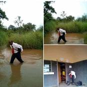 A Maths teacher attacked by rainfall that caused him not to Across river in full of water to school!
