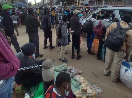 Commuter Stranded as Fare Price From Nairobi CBD to Kitengela Doubles (Photos)