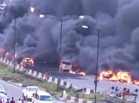 6 vehicles burnt as another tanker explosion rocks Otedola bridge.